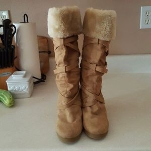 Faux Fur Womens Wedge Boot